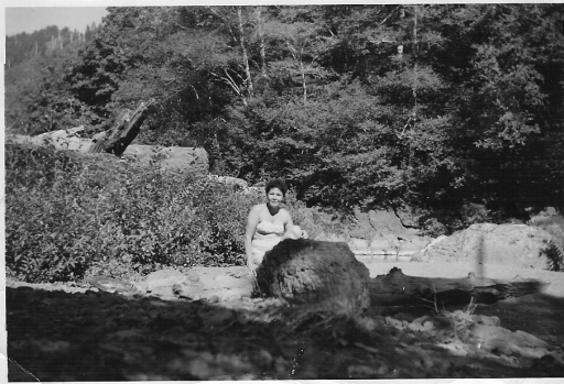 Agnes on Trask River by Tillamook, 1953