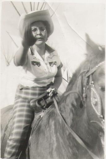 Aggie on horseback, 1950s