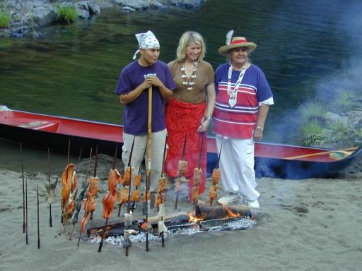 Grandson Jai Kibbe (Yurok), Martha Stewart, and Aggie on the Illinois River, 2001