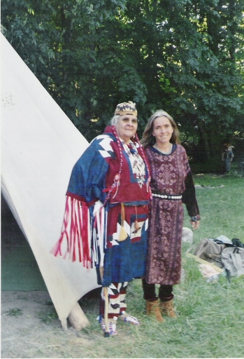 Aggie with Diane Windsong Martin during the Women's Healing Gathering, 2004