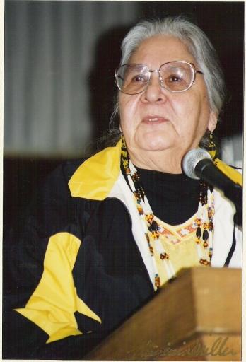 Agnes delivering a speech, 2000