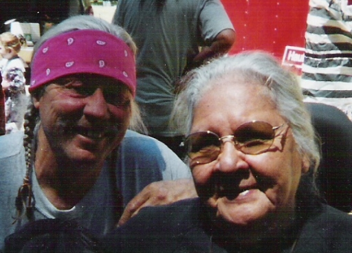 Takelma Intertribal Project leaders, Dennis Martinez and Aggie, at Applegate (Kanaka Flat) Salmon Ceremony , mid-1990s