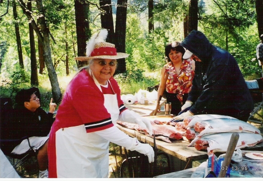 Aggie and family at Applegate Salmon Ceremony, mid-1990s