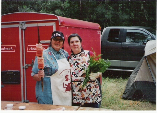 Daughters Nadine Martin and Mona Hudson at Applegate Salmon Ceremony, mid-1990s