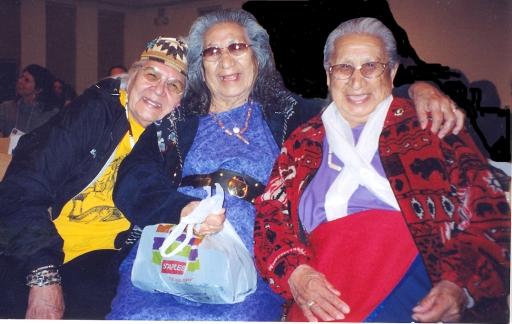 Grandma Aggie with Lakota elders Rita and Beatrice Long Visitor Holy Dance