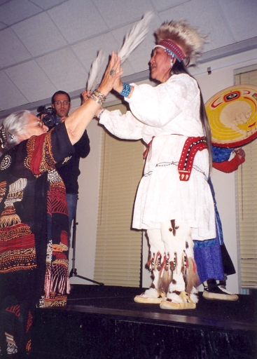 Aggie and Yupik dancer, Marie Meade, 2004