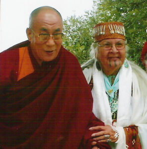 Dalai Lama and Aggie smiling