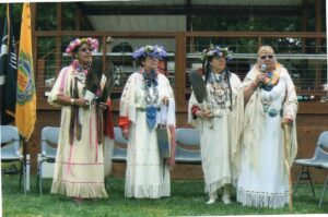 Agnes Pilgrim with daughters Nadine, Sonja, and Mona at the 2009 Pow Wow