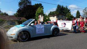 Grand Marshall, Agnes Pilgrim leading the 2019 Pow Wow Parade